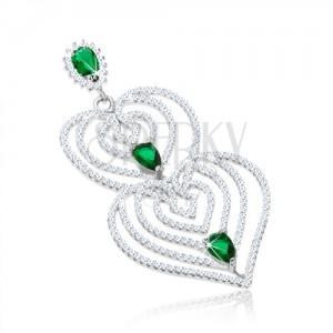Přívěsek ze stříbra 925, obrysy srdcí s filigránem, čiré a zelené zirkony
