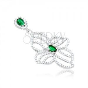 Stříbrný přívěsek 925, obrys nesouměrného květu, čiré a zelené zirkonky