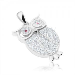 Přívěsek - stříbro 925, sova vykládaná čirými zirkony, fuchsiové oči, pírka