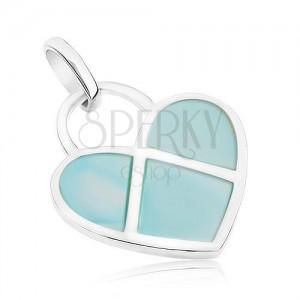 Přívěsek ze stříbra 925, ploché srdíčko zdobené modrou perletí