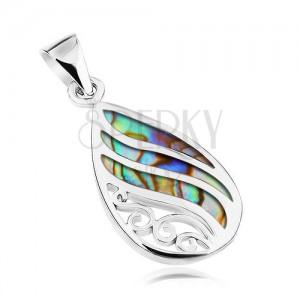 Stříbrný přívěsek 925, kapka - mušle Paua, zvlněné lesklé linie a spirály