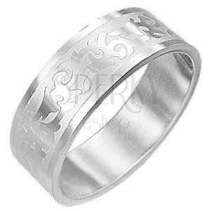 Ocelový prsten - TRIBAL