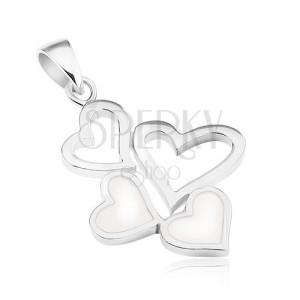 Stříbrný přívěsek 925, dvě kontury srdcí a dvě srdíčka s bílou perletí