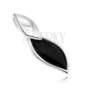 Přívěsek - stříbro 925, lístek s černou výplní, jemný obrys