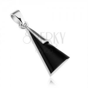 Přívěsek - stříbro 925, trojúhelník s imitací černého onyxu