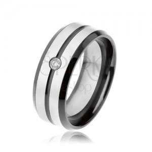 Černý prsten z oceli 316L, matné pásky stříbrné barvy, čirý zirkon