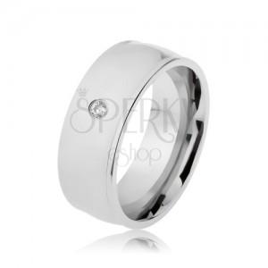 Prsten z oceli 316L, stříbrná barva, lesk, vyvýšené okraje, čirý zirkon