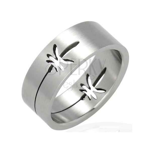 Ocelový prsten - lístky marihuany