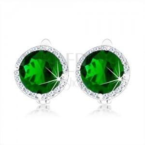 Stříbrné náušnice 925, kulatý smaragdově zelený zirkon, čirý lem, rhodiované