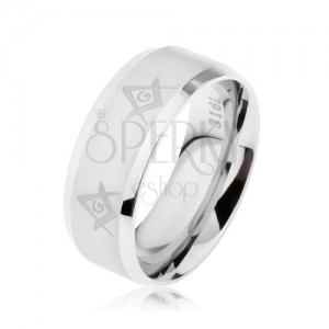 Prsten z chirurgické oceli stříbrné barvy, symboly svobodných zednářů