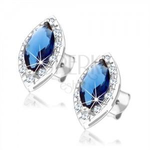 Puzetové náušnice ze stříbra 925, modré zirkonové oko s čirým lemem