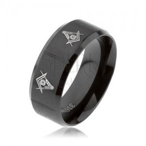 Prsten z oceli 316L, černá barva, symboly svobodných zednářů, svislé zářezy