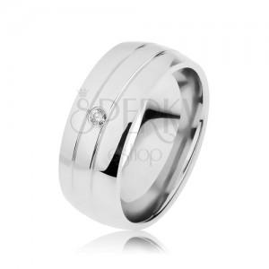 Prsten z chirurgické oceli, dva zářezy, čirý zirkon, zrcadlový lesk