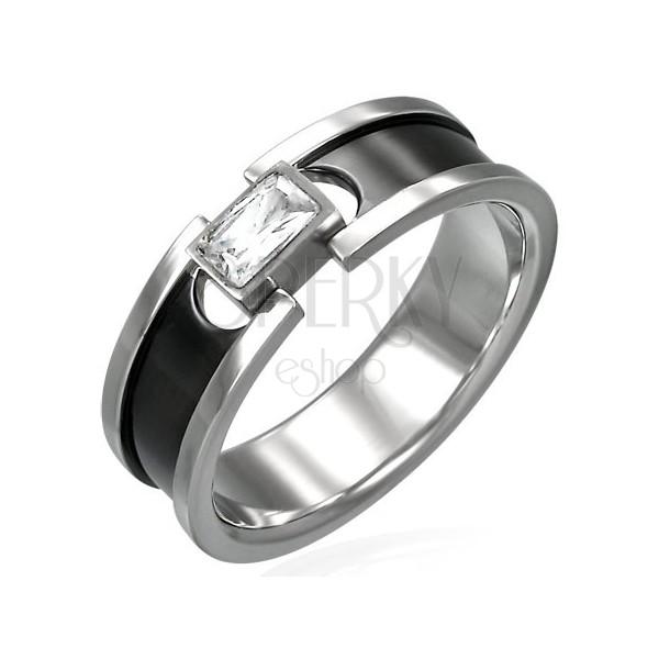 Ocelový prsten se zirkonem - černý pruh a lesklé okraje