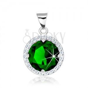 Stříbrný přívěsek 925, kulatý smaragdově zelený zirkon, čirý zirkonový lem