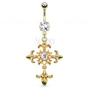 Piercing do bříška z oceli 316L, zlatá barva, liliový kříž, zirkony