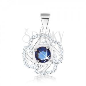Stříbrný 925 přívěsek, obrys květu, kulatý zirkon modré barvy, stříbrné linie