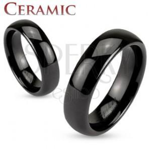 Keramický kroužek černé barvy, lesklý a hladký povrch, 6 mm