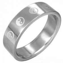 Ocelový prsten Jing-Jang