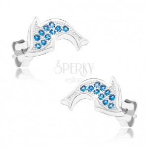 Rhodiované náušnice ze stříbra 925, blyštivý delfín, modré zirkonky