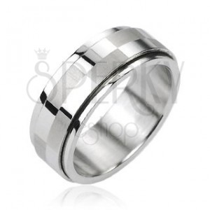 Ocelový prsten stříbrné barvy, otáčecí středový pás s motivem šachovnice
