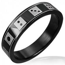 Černý ocelový prsten - hrací kostky