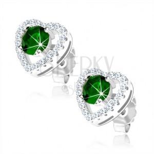 Stříbrné náušnice 925, kulatý zelený zirkon ve třpytivém obrysu srdce, výřezy