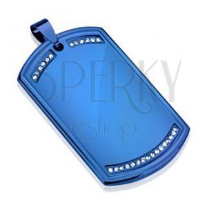 Přívěsek z oceli 316L, dog tag modré barvy, čiré zirkonové linie