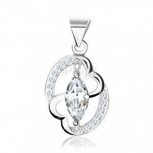 Stříbrný přívěsek 925, kontura elipsy, zirkonové zrnko, propojená srdce