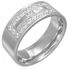 Ocelový prsten s motivem ze zirkonů