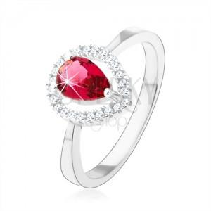 Stříbrný prsten 925, růžová zirkonová slza, třpytivá kontura