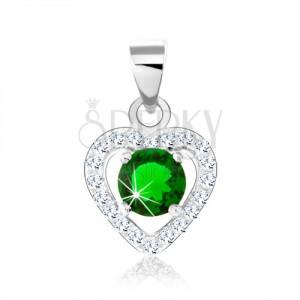 Stříbrný přívěsek 925, tmavě zelený zirkon, blyštivý obrys srdce