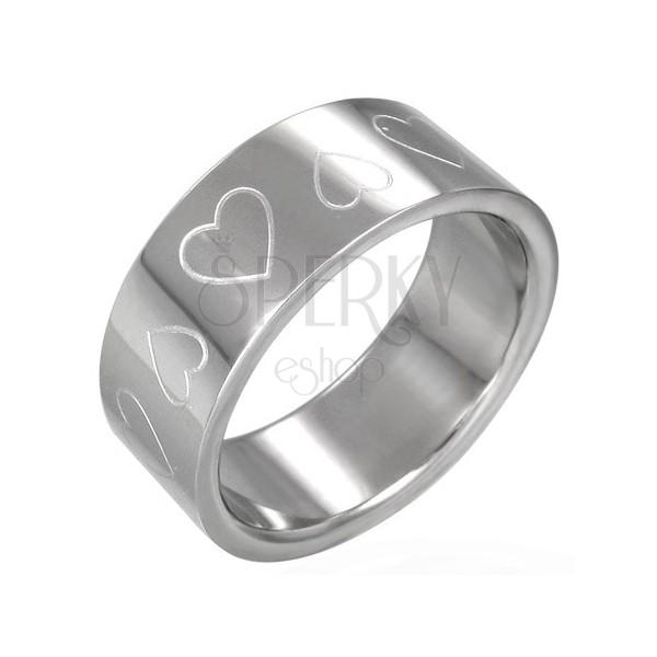 Ocelový prsten - srdíčka
