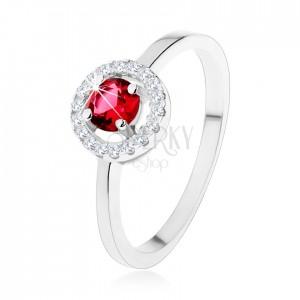 Zásnubní prsten ze stříbra 925, kulatý červený zirkon, čirý lem