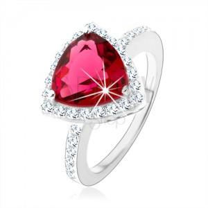Stříbrný prsten 925, trojúhelník, růžový zirkon, blyštivý lem, výřezy