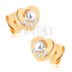 Náušnice ve žlutém 9K zlatě - srdíčko, bílá perla, zirkonky čiré barvy