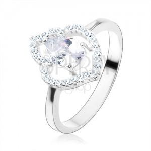 Prsten, stříbro 925, čirá zirkonová kapka, blyštivá kontura listu