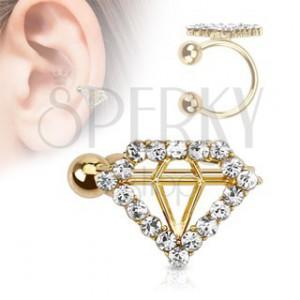 Fake piercing do ucha, zlatá barva, kuličky, obrys diamantu s čirými zirkony
