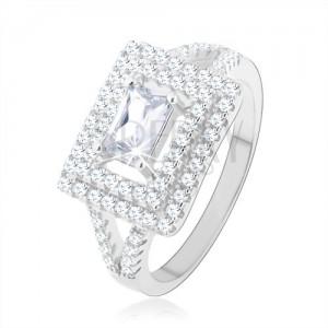 Prsten, stříbro 925, čirý zirkon - obdélník, třpytivý lem, rozdvojená ramena
