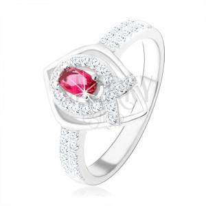 "Stříbrný prsten 925, obrys špičaté slzy, růžový zirkon, linie ve tvaru ""V"""