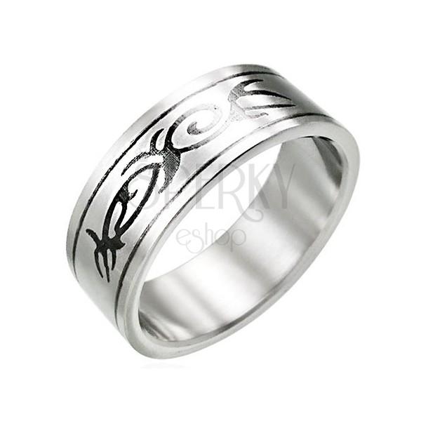 Ocelový prsten s motivem TRIBAL