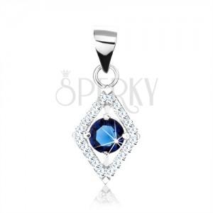 Stříbrný 925 přívěsek, modrý kulatý zirkon, obrys kosočtverce