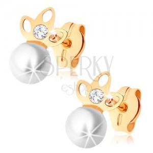Zlaté náušnice 375 - perla bílé barvy, zašpičatělý trojlístek s výřezy