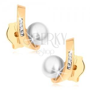 Puzetové náušnice ze žlutého 9K zlata - kulatá perla, zahnutá linie se zirkonky