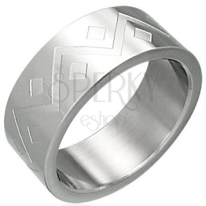 Prsten z chirurgické oceli - geometrický vzor