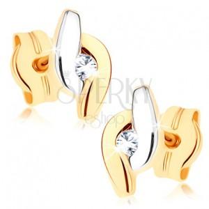 Zlaté náušnice 375 - dvoubarevné zahnuté linie lemující čirý zirkon