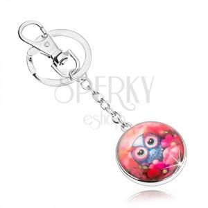 Přívěsek na klíče cabochon, kruh, roztomilá sovička mezi červenými květy