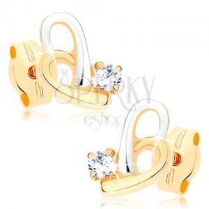 Dvoubarevné náušnice z 9K zlata - kontura asymetrického srdce, zirkonek