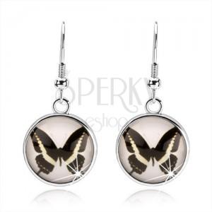 Kruhové kabošon náušnice, čiré vypouklé sklo, černobílý motýlek, afro háček