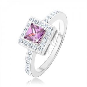 Prsten ze stříbra 925, fialový zirkonový čtverec, čirá blyštivá obruba